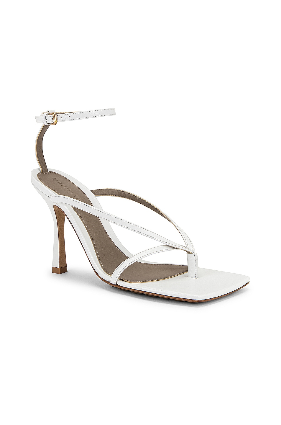 Image 2 of Bottega Veneta Leather Stretch Toe Heels in Optic White