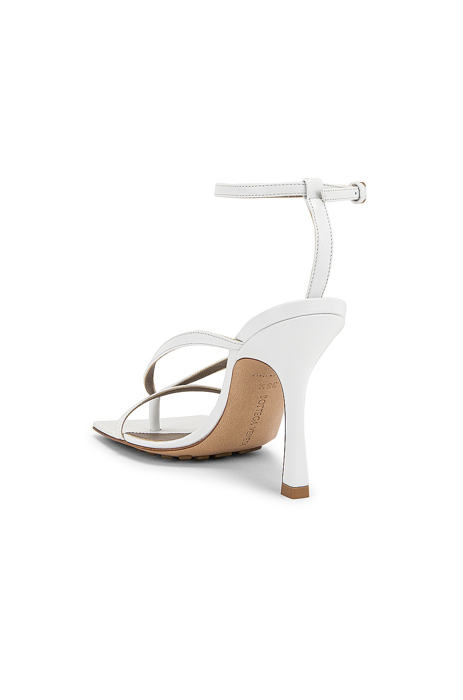 Image 3 of Bottega Veneta Leather Stretch Toe Heels in Optic White