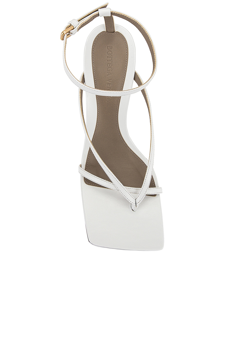 Image 4 of Bottega Veneta Leather Stretch Toe Heels in Optic White