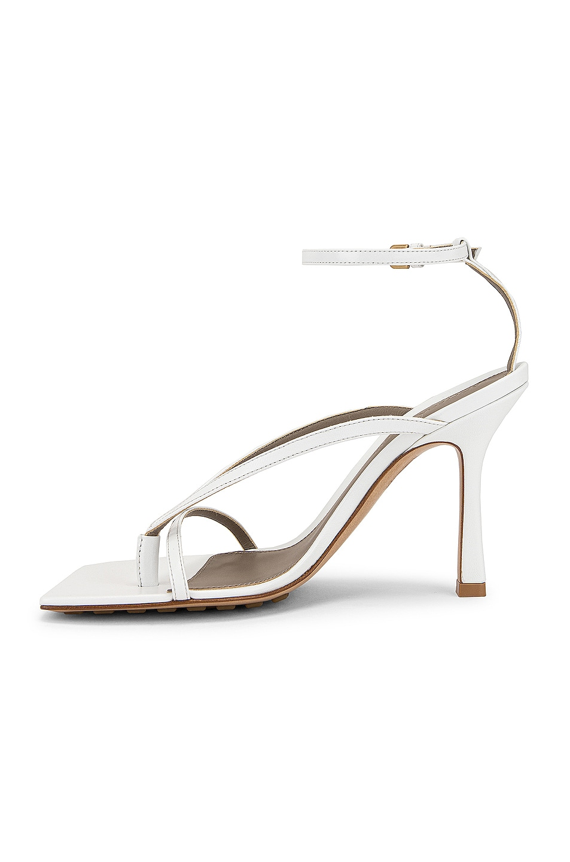 Image 5 of Bottega Veneta Leather Stretch Toe Heels in Optic White
