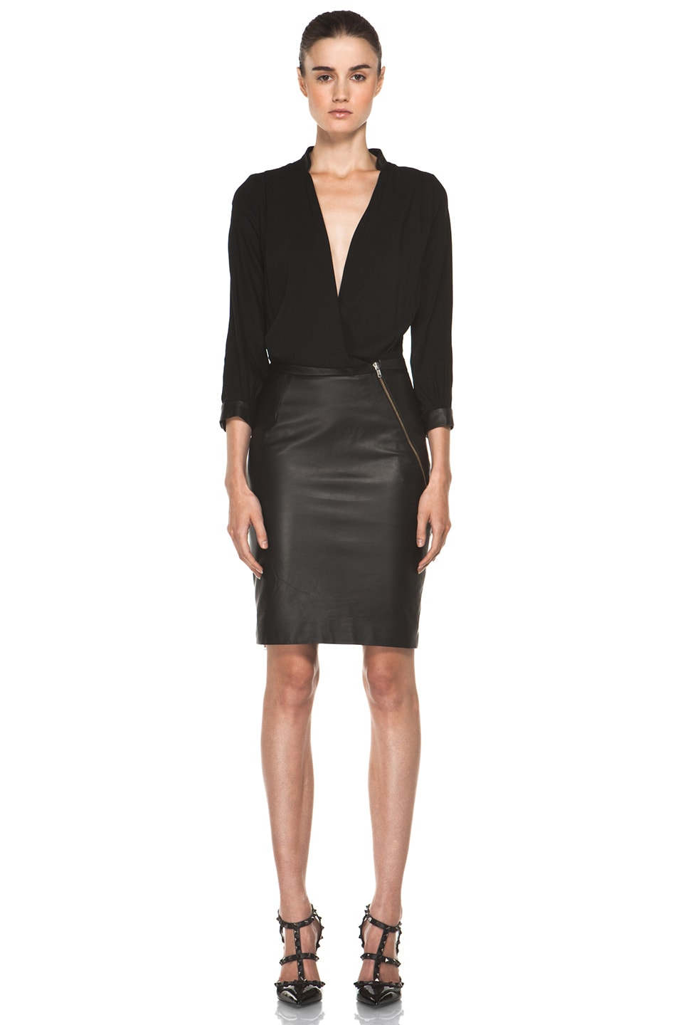 Image 1 of Boy. by Band of Outsiders Leather Combo Dress in Black