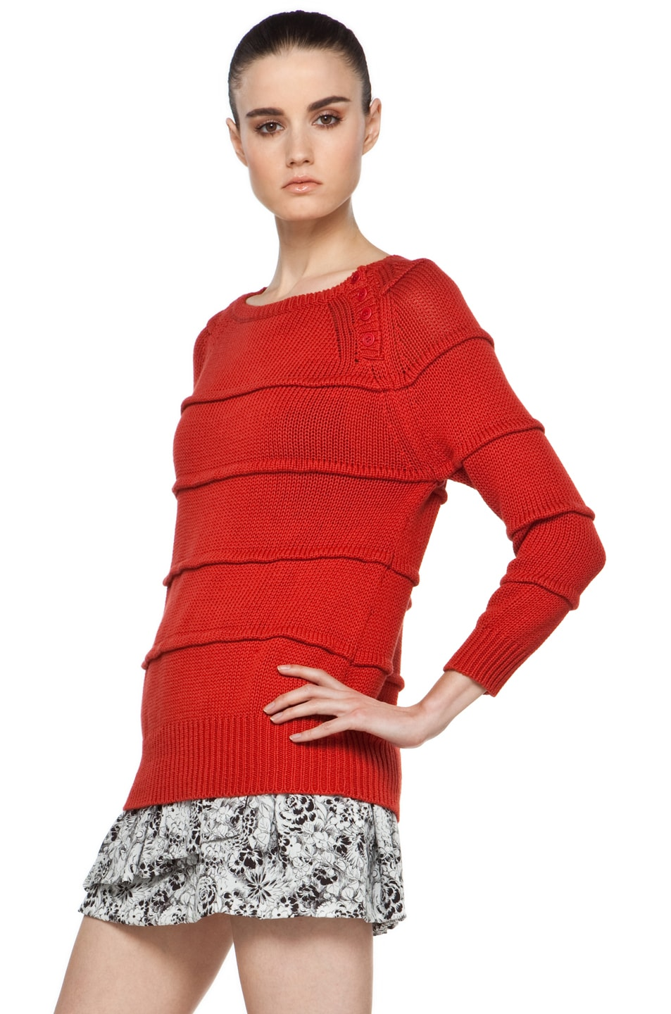 Image 2 of Boy. by Band of Outsiders Ribbed Striped Sweater in Red