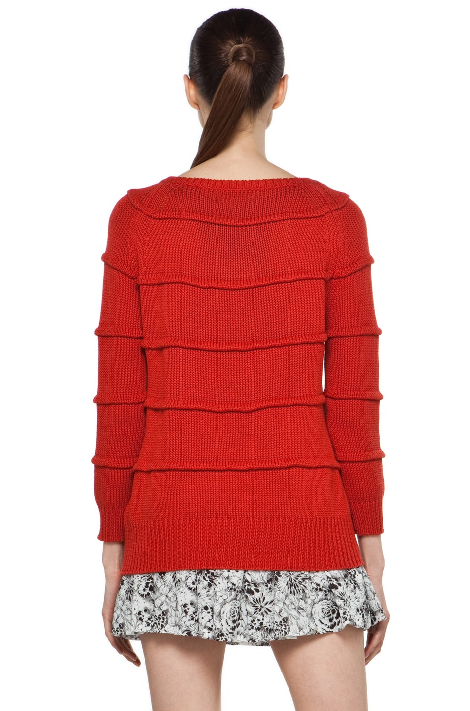 Image 4 of Boy. by Band of Outsiders Ribbed Striped Sweater in Red