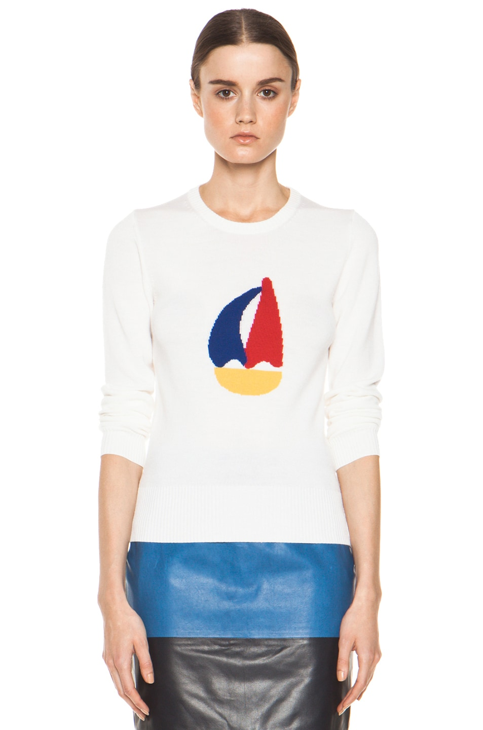 Image 1 of Boy. by Band of Outsiders Sailboat Intarsia Sweater in White