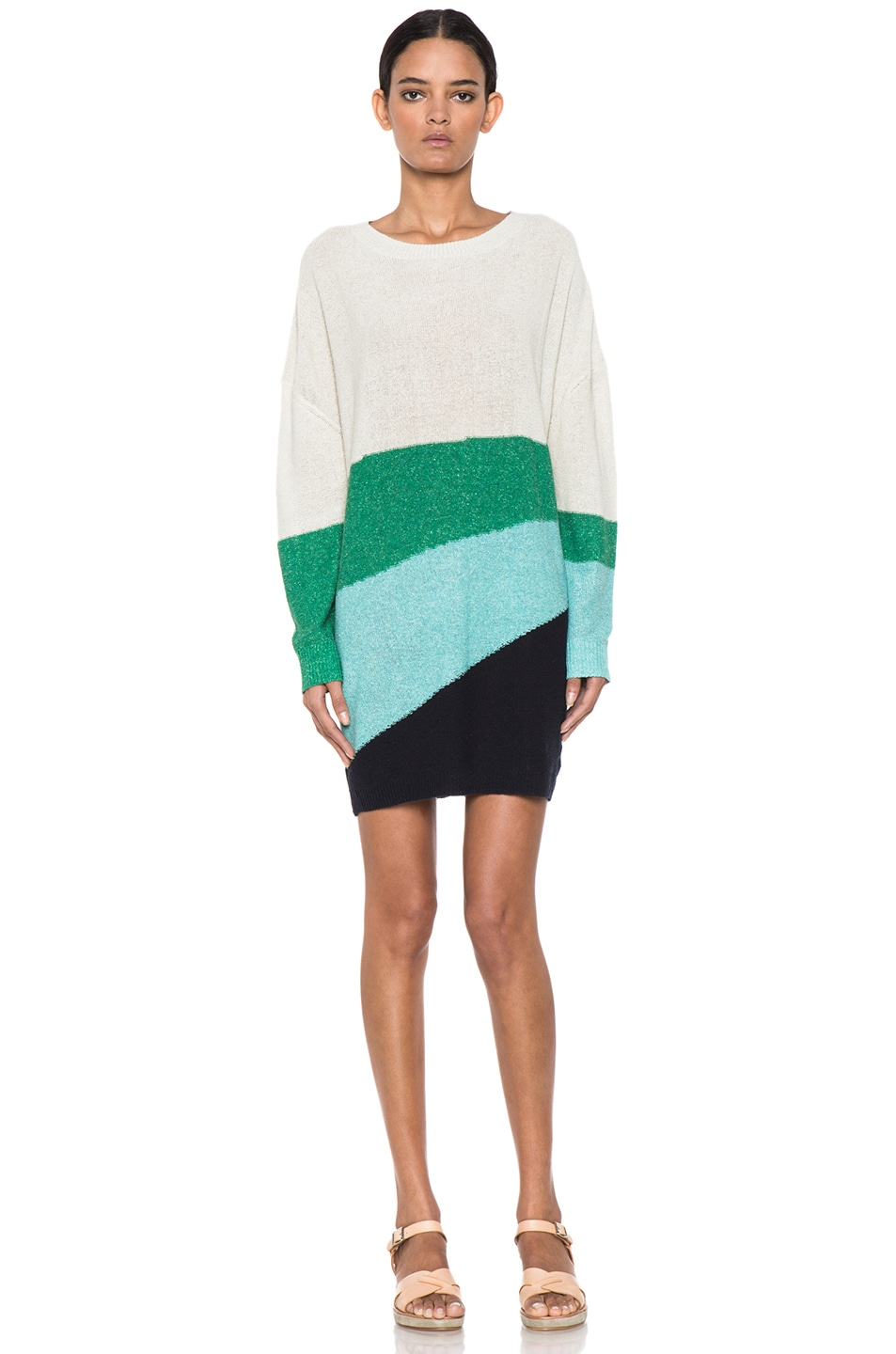 Image 1 of Boy. by Band of Outsiders Melange Silk Striped Sweater in Ecru