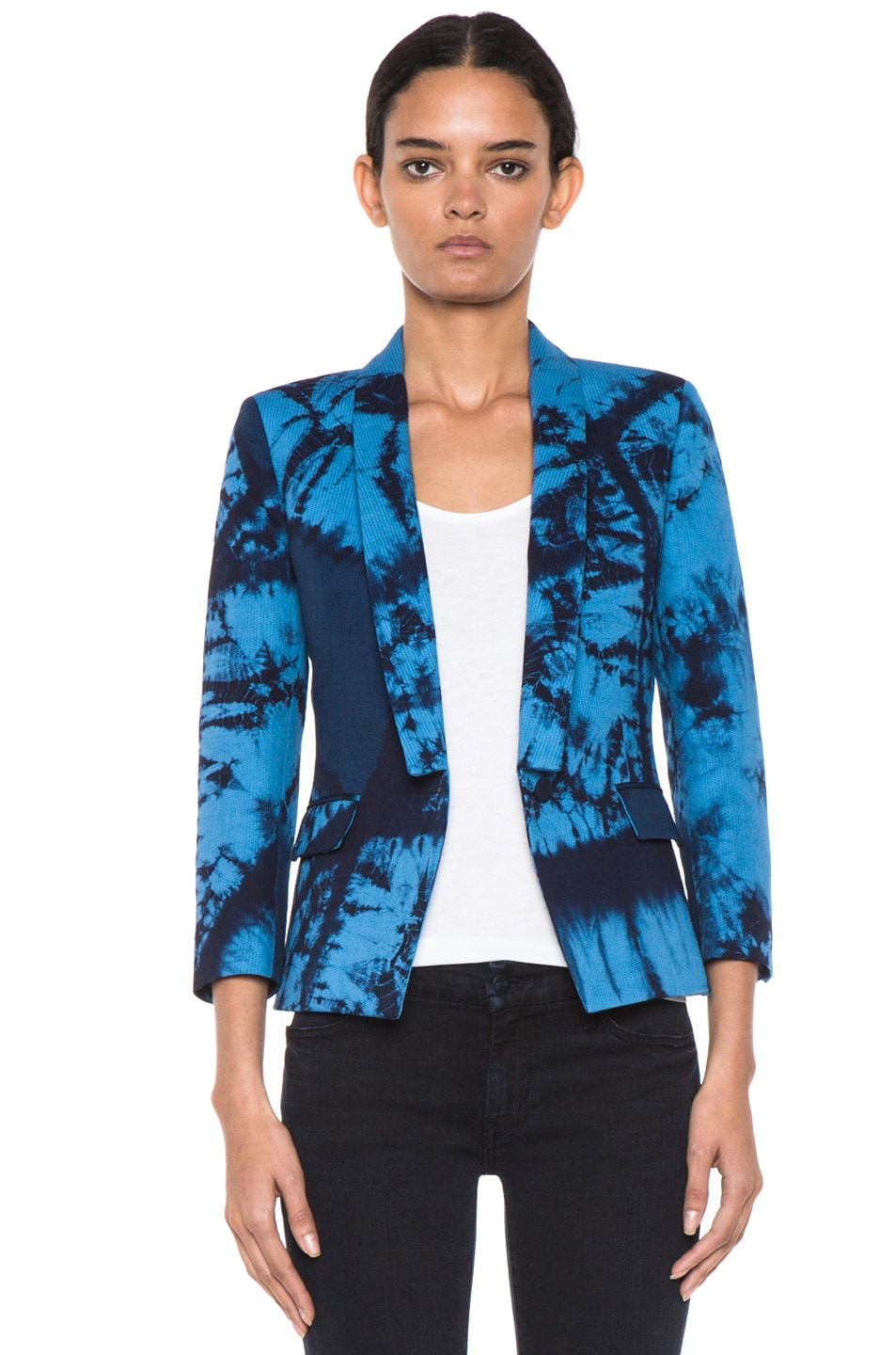 Image 1 of Boy. by Band of Outsiders Shibori Dye Cotton Collared Jacket in Blue