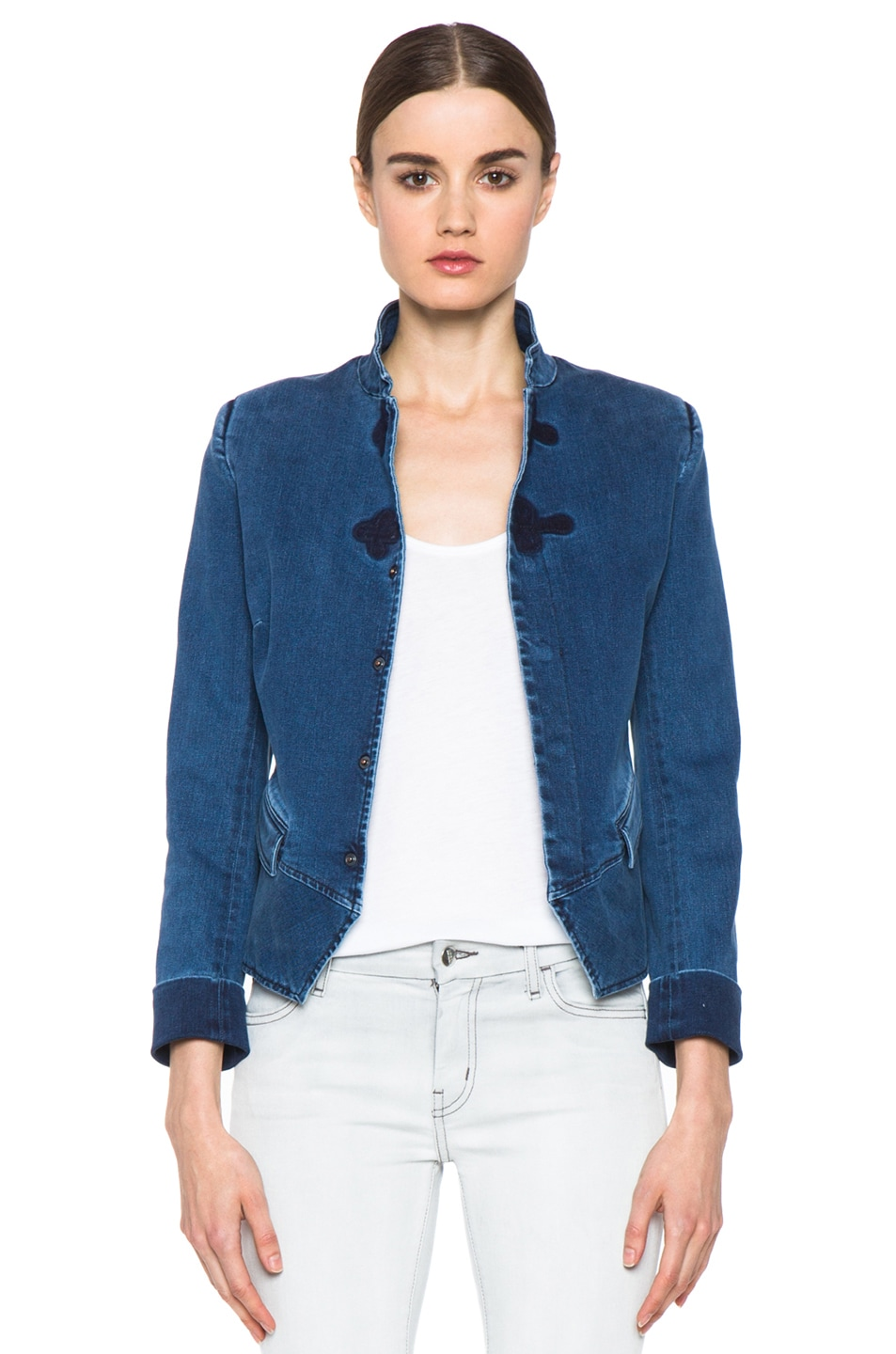 Image 1 of Boy. by Band of Outsiders Stand Collar Peplum Denim Jacket in Washed Blue