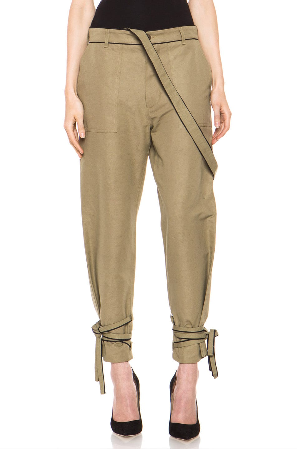 Image 1 of Boy. by Band of Outsiders Drape Military Pant in Green