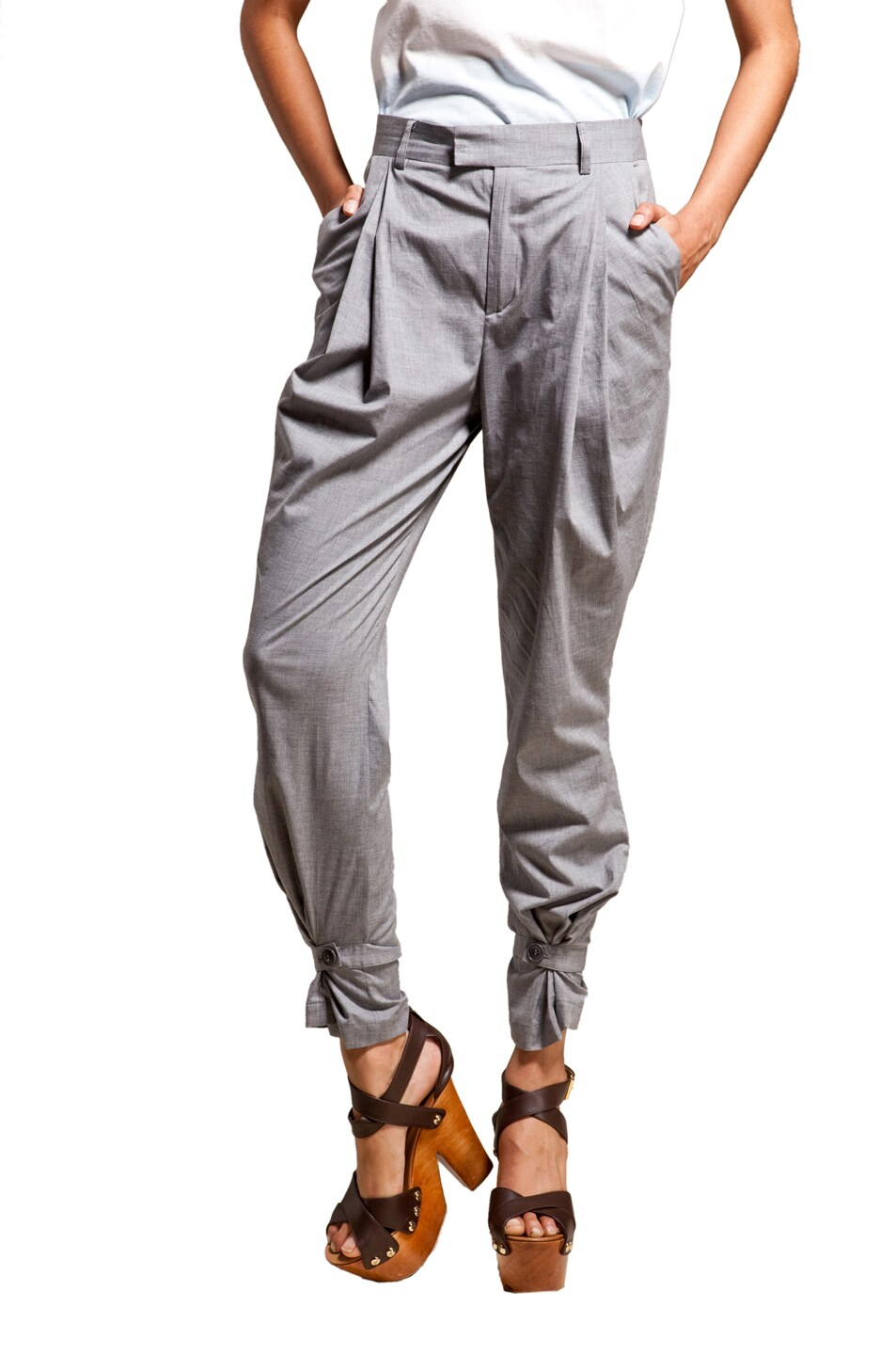 Image 1 of Boy. by Band of Outsiders Draped Pleated Pants in Grey