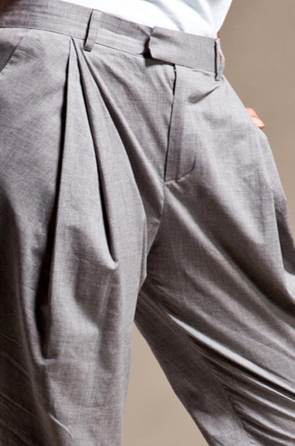 Image 6 of Boy. by Band of Outsiders Draped Pleated Pants in Grey