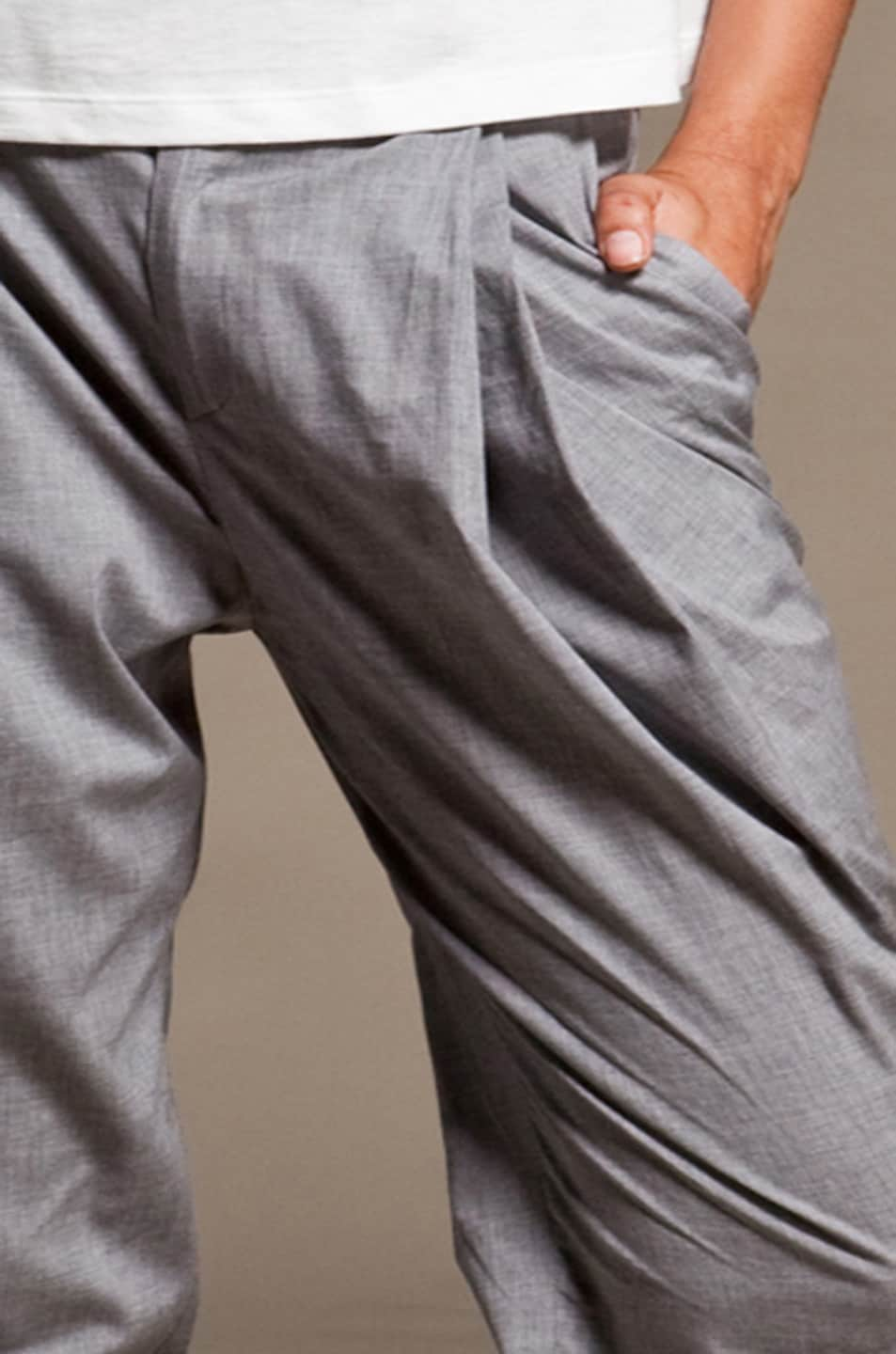Image 8 of Boy. by Band of Outsiders Draped Pleated Pants in Grey
