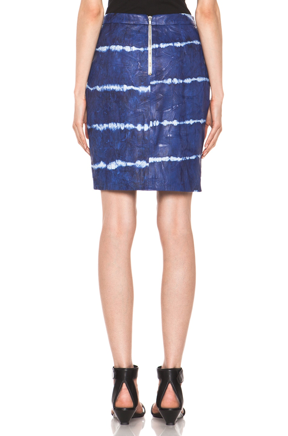 Image 4 of Boy. by Band of Outsiders Leather Pencil Skirt in Blue Tye Dye