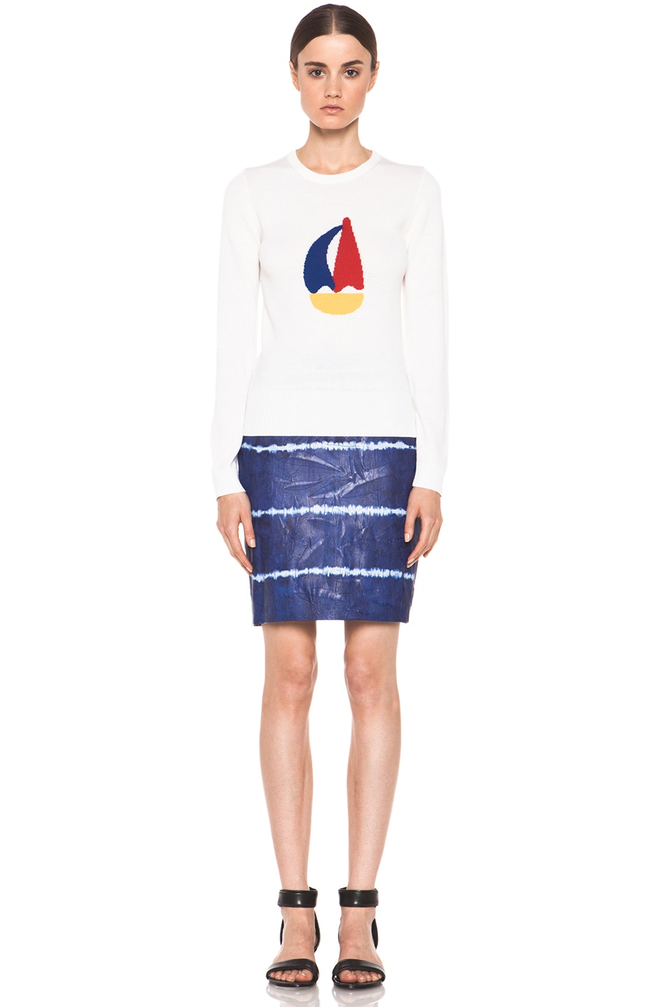 Image 5 of Boy. by Band of Outsiders Leather Pencil Skirt in Blue Tye Dye
