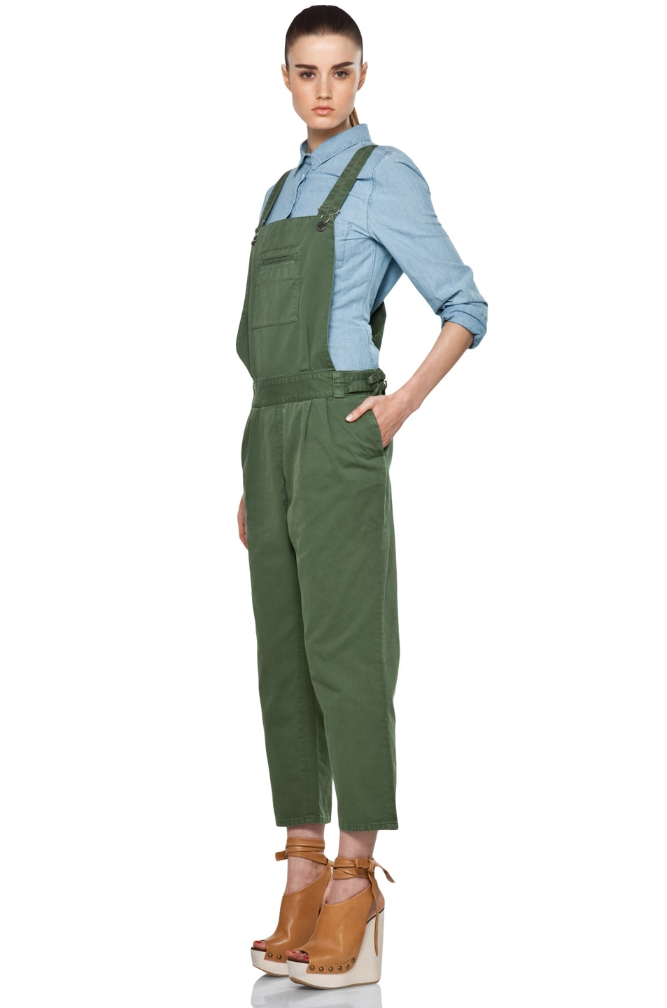 Image 2 of Boy. by Band of Outsiders Overalls in Verde