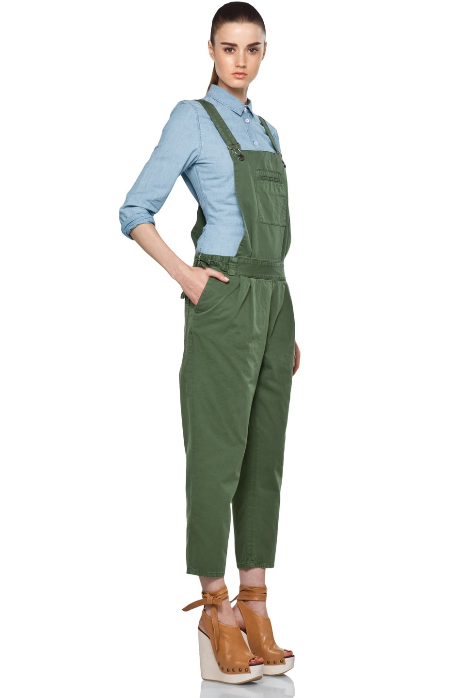 Image 3 of Boy. by Band of Outsiders Overalls in Verde