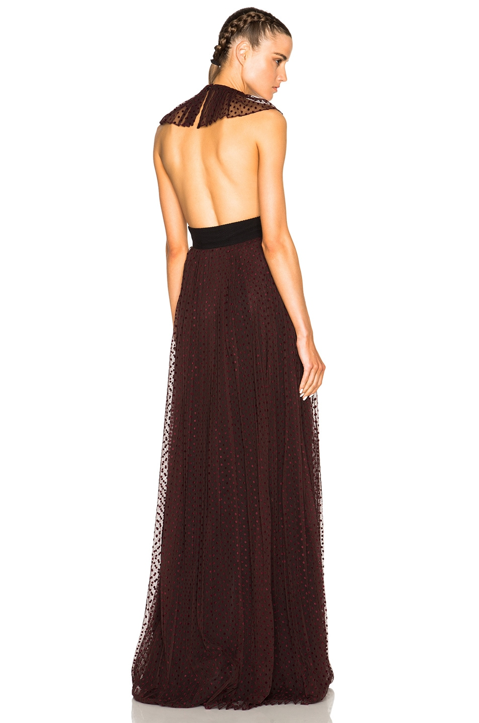 Burberry Prorsum Polka Dot Gown in Mahogany Red