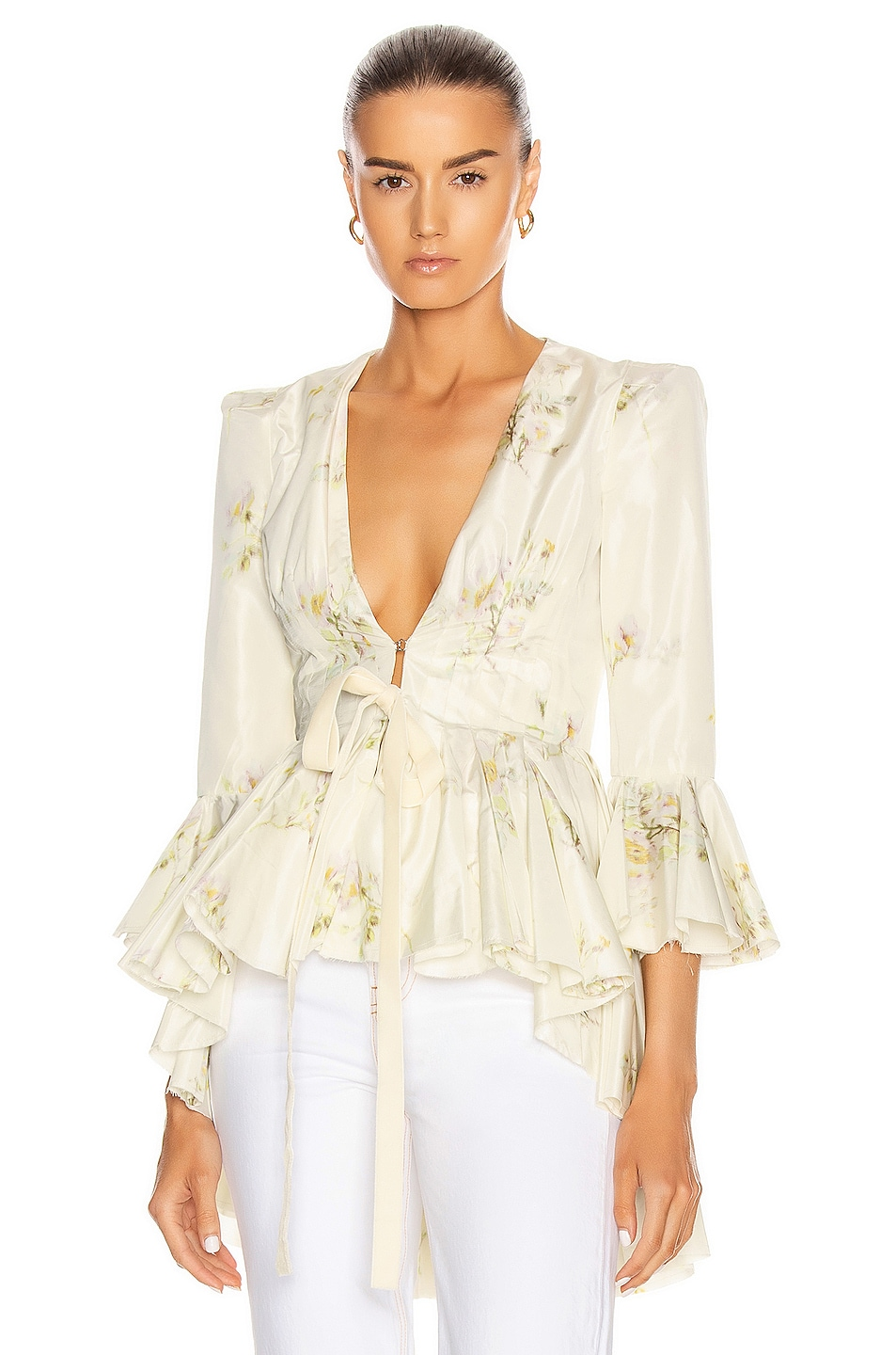 Image 1 of Brock Collection Quaid Floral Ruffle Jacket in Natural