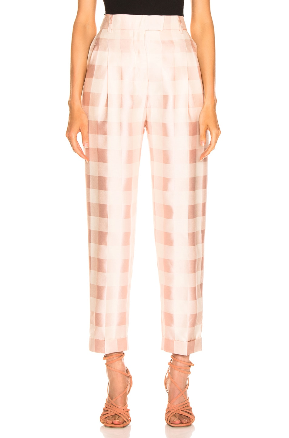 Image 1 of Brock Collection Check Trouser in Light Pastel Pink