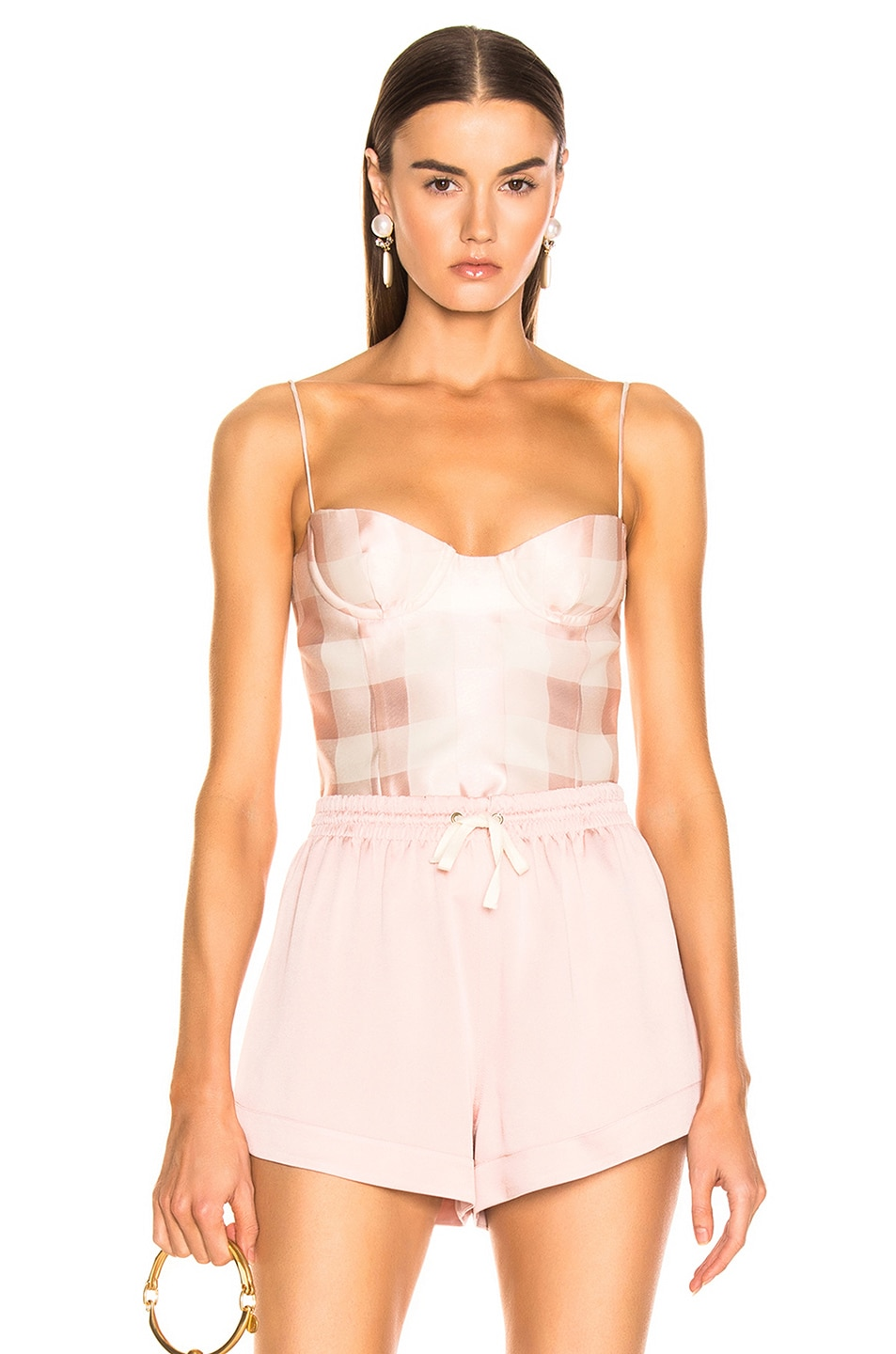 Image 1 of Brock Collection Check Bustier Top in Light Pastel Pink