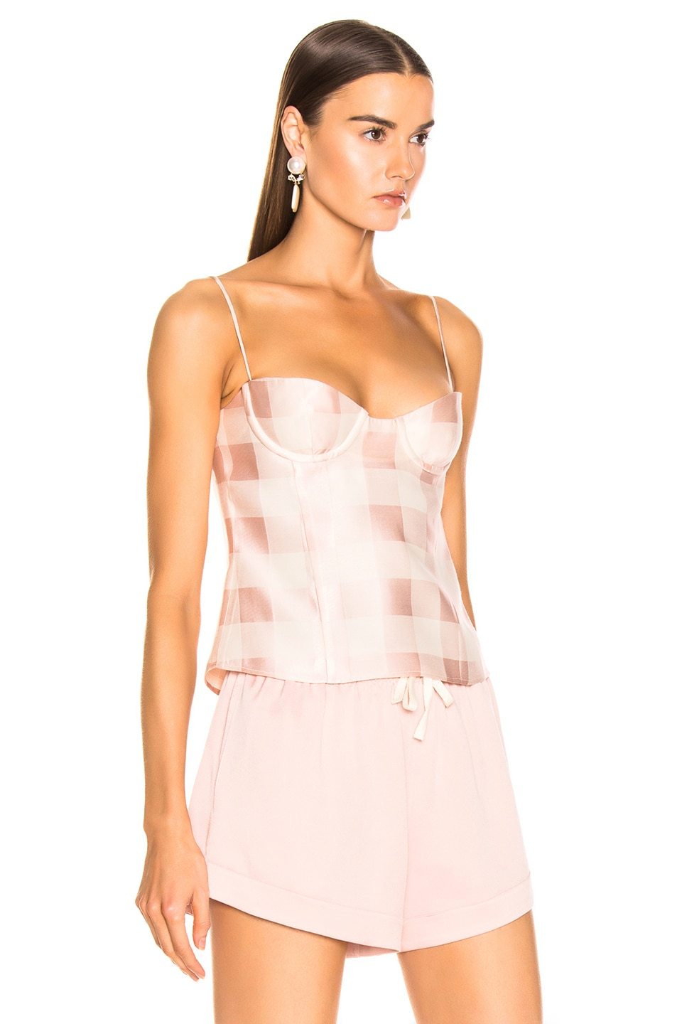 Image 2 of Brock Collection Check Bustier Top in Light Pastel Pink