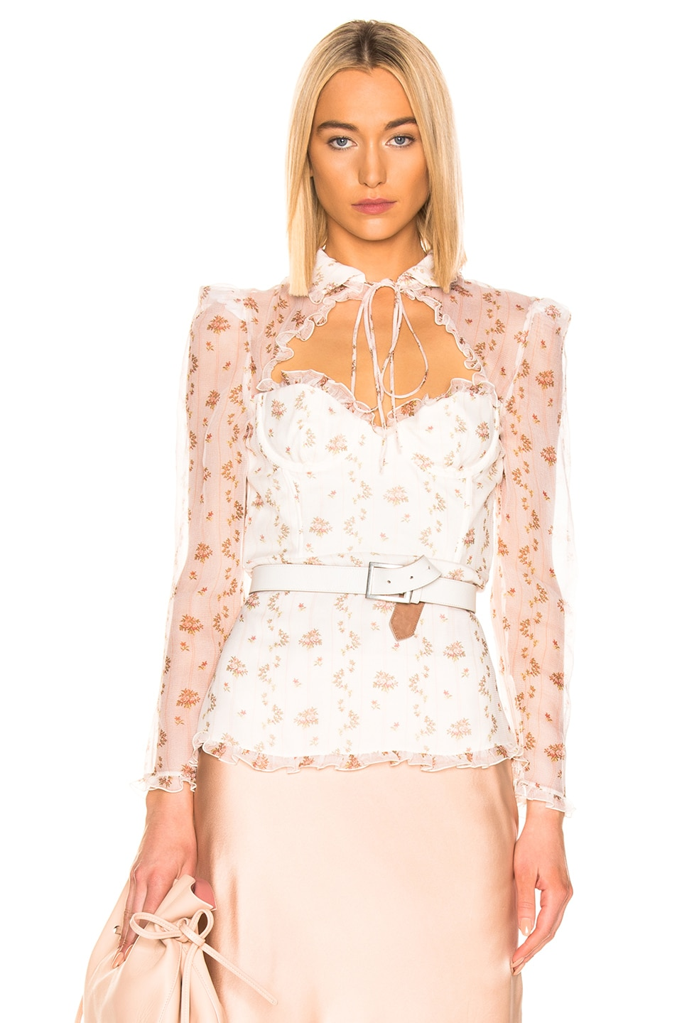 Image 1 of Brock Collection Floral Bustier Long Sleeve Top in Open White
