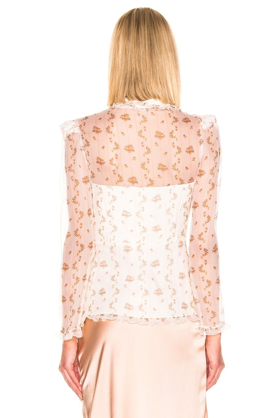 Image 3 of Brock Collection Floral Bustier Long Sleeve Top in Open White