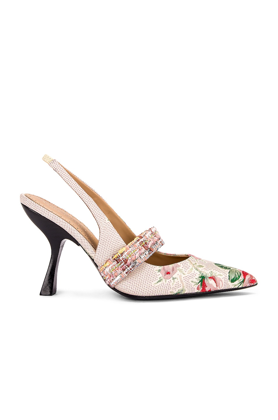 Image 1 of Brock Collection Floral Slingback Heels in White & Pink