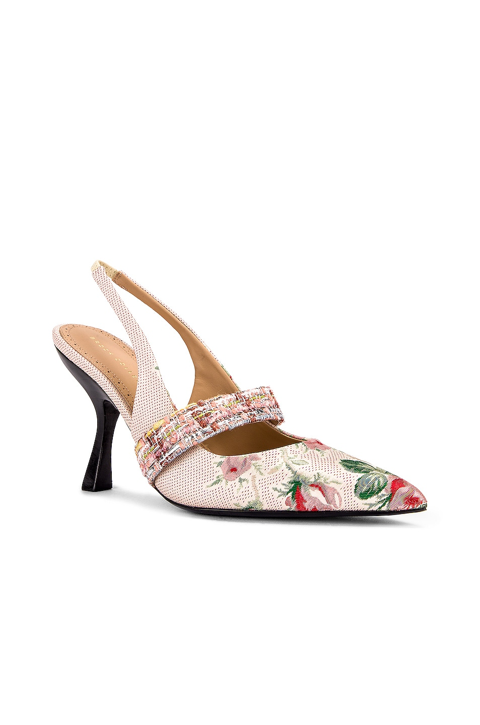 Image 2 of Brock Collection Floral Slingback Heels in White & Pink