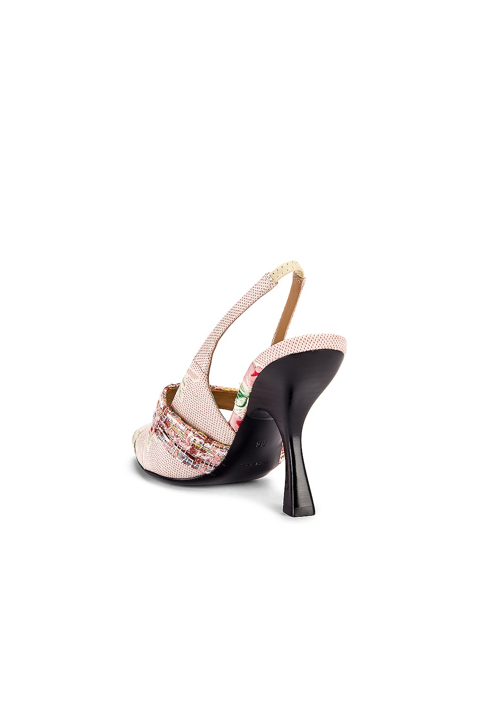 Image 3 of Brock Collection Floral Slingback Heels in White & Pink