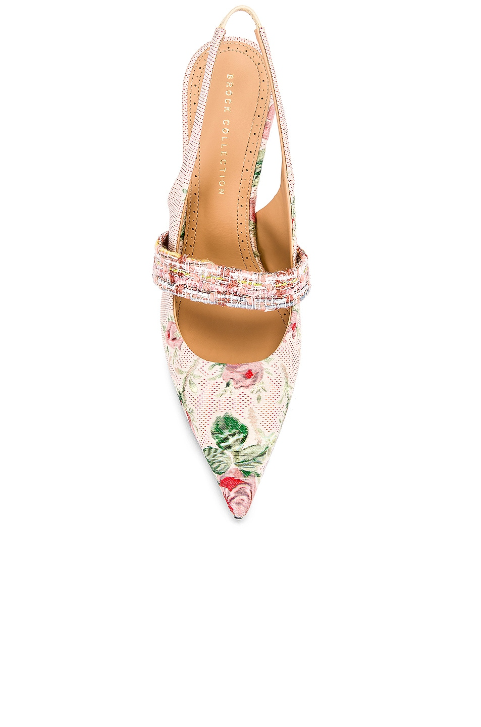 Image 4 of Brock Collection Floral Slingback Heels in White & Pink