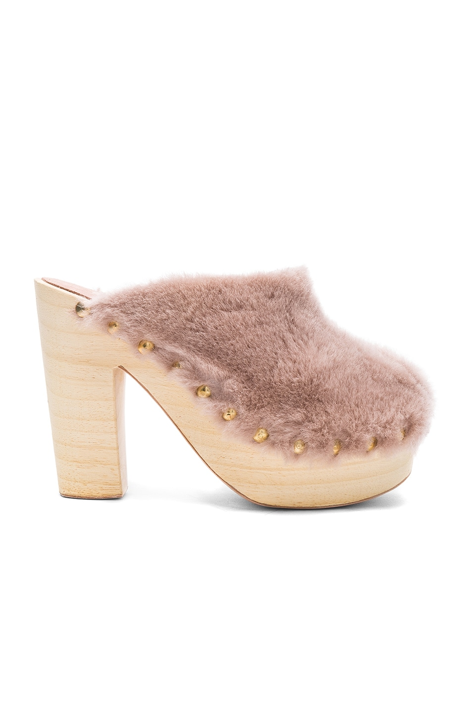 Image 1 of Brother Vellies Sheep Shearling Clog Heels in Protea