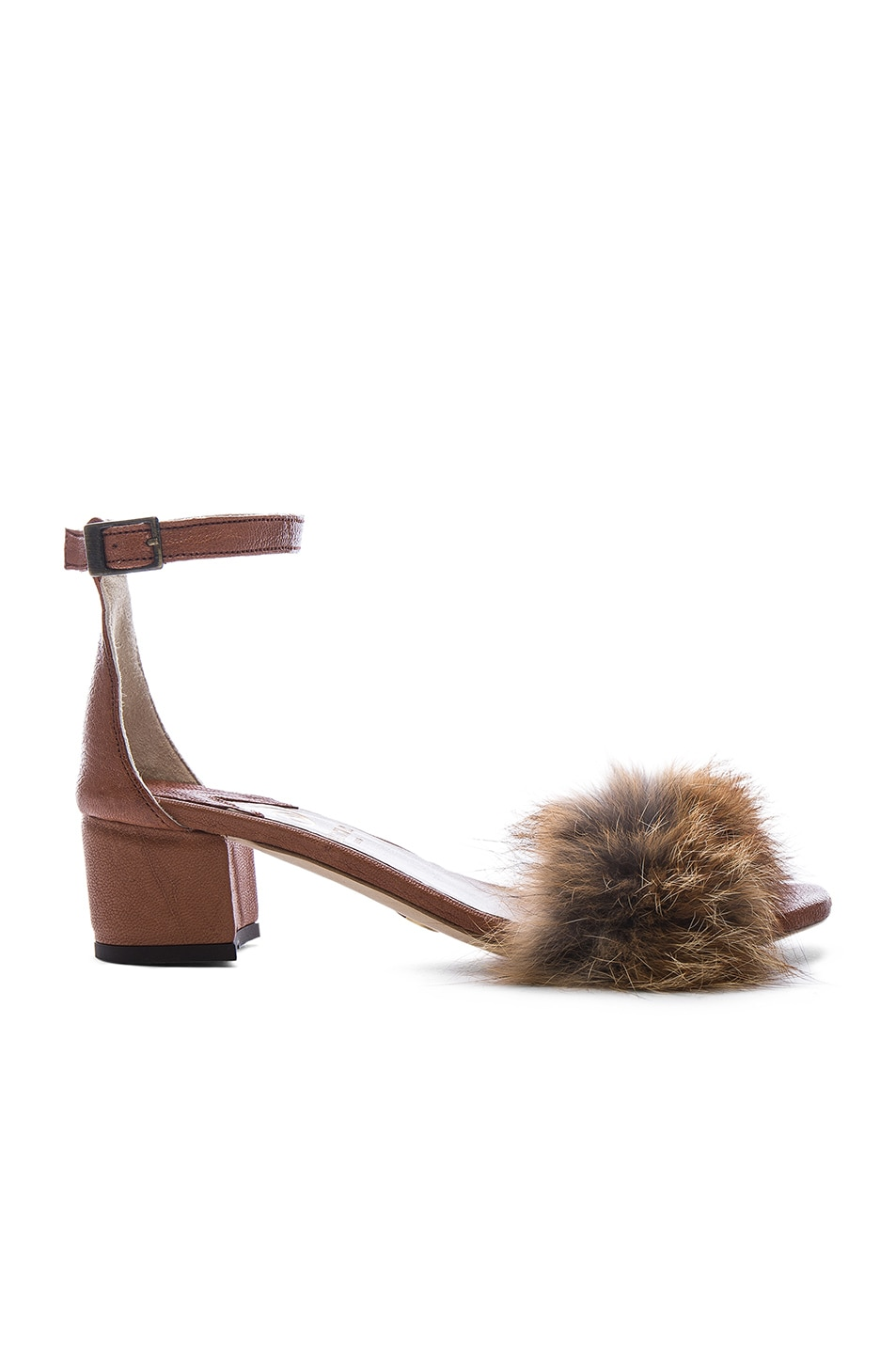 BROTHER VELLIES Dhara Tufted Fox Fur Sandals in . a5YMvud