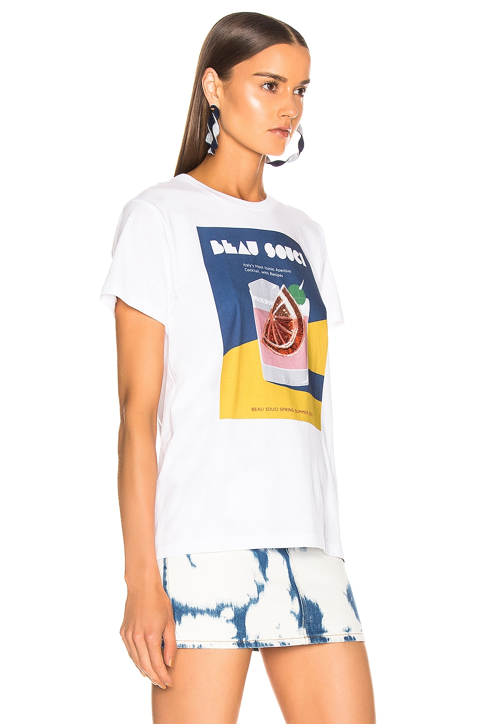 Image 3 of BEAU SOUCI Wedge Tee in White & Multi