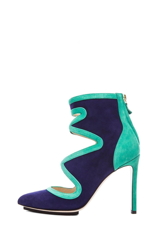 Image 1 of BURAK UYAN Bicolor Suede Booties in Green & Blue