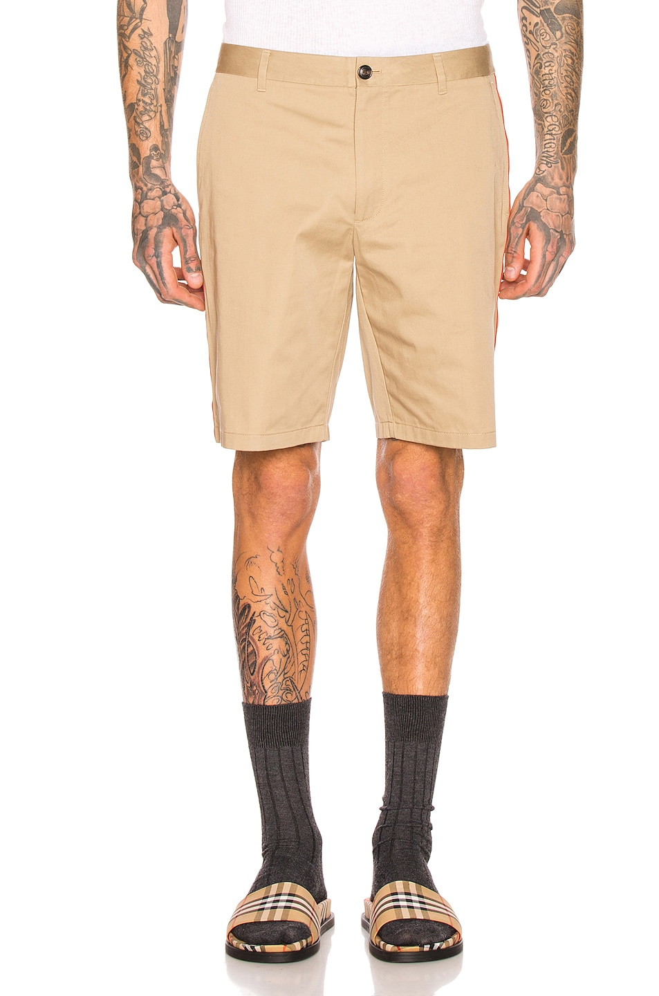 Image 2 of Burberry Icon Stripe Chino Shorts in Honey
