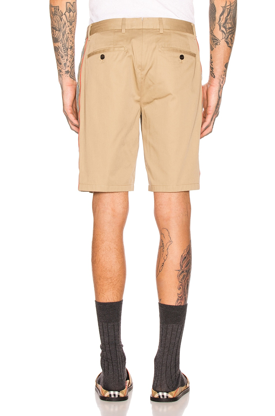 Image 4 of Burberry Icon Stripe Chino Shorts in Honey