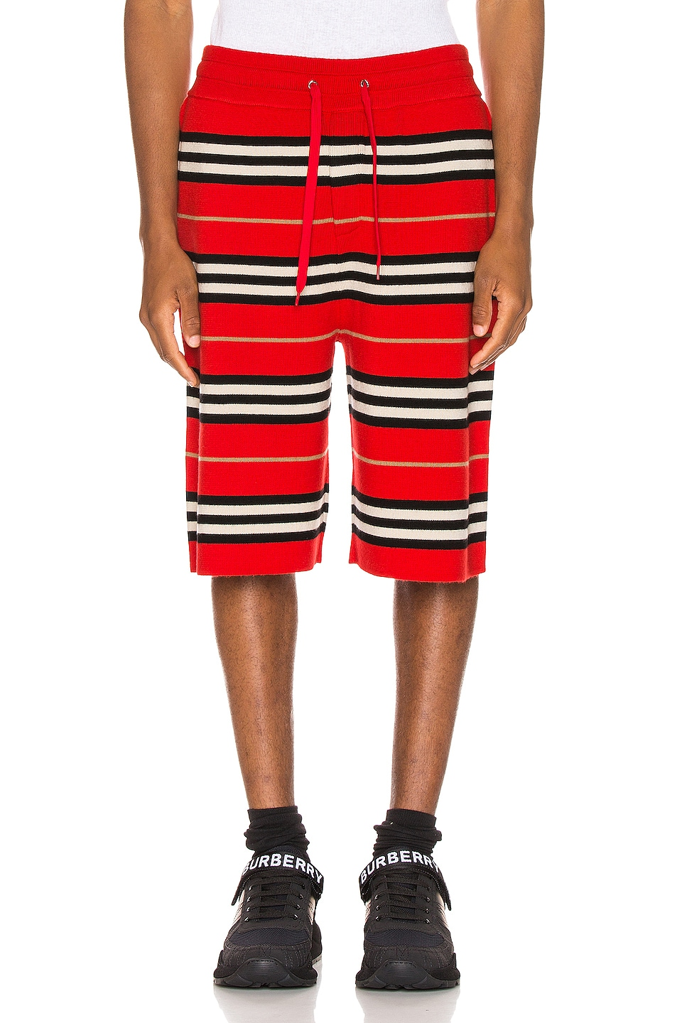 Image 1 of Burberry Icon Stripe Bermuda Shorts in Bright Red