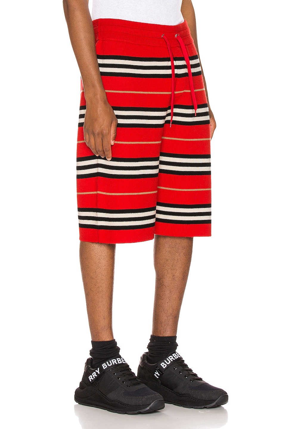 Image 2 of Burberry Icon Stripe Bermuda Shorts in Bright Red