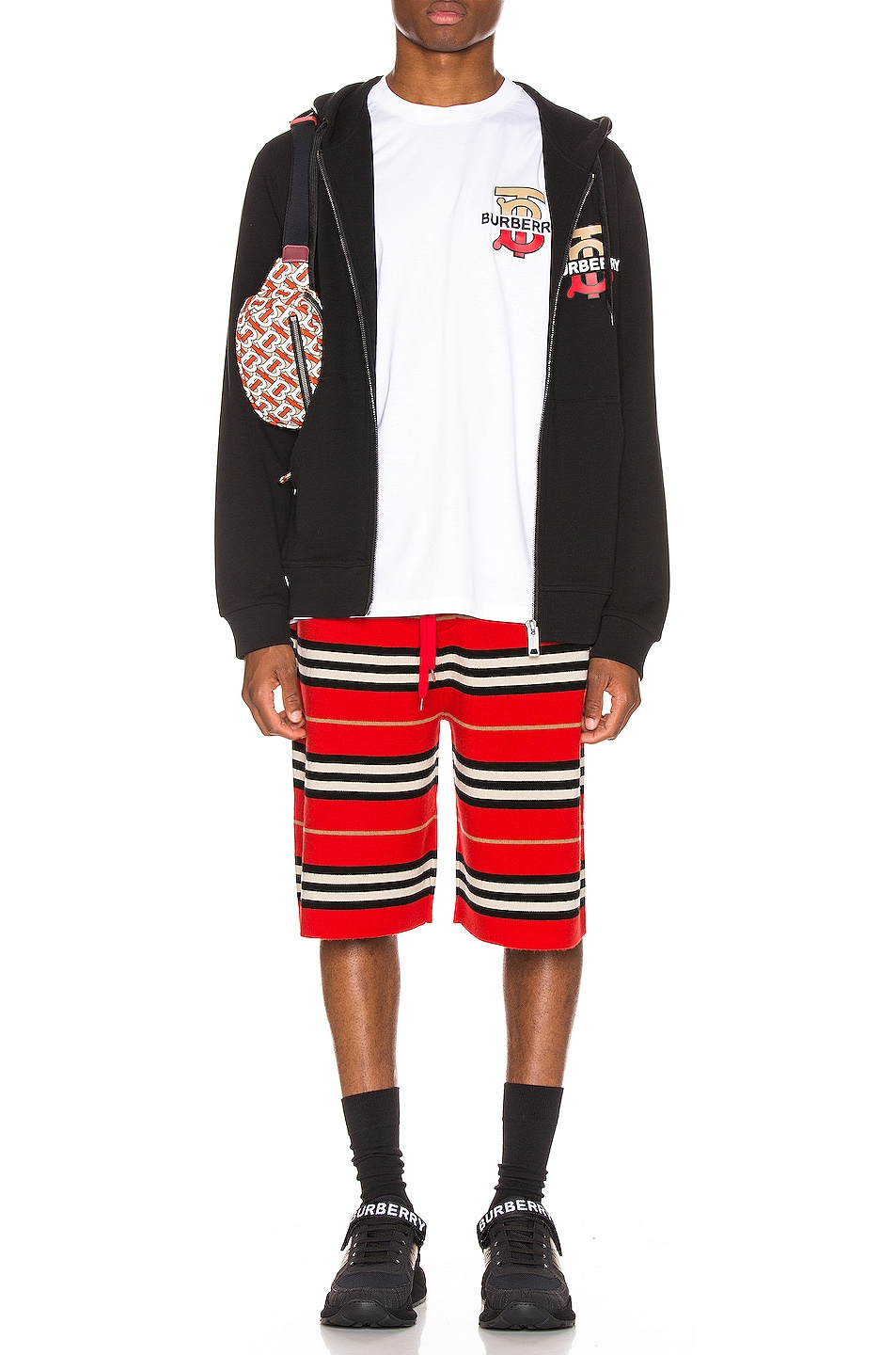 Image 4 of Burberry Icon Stripe Bermuda Shorts in Bright Red