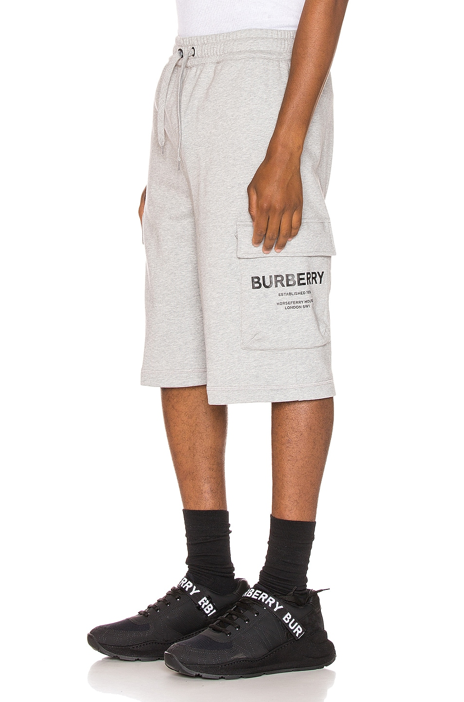 Image 1 of Burberry Ailford Track Shorts in Pale Grey Melange