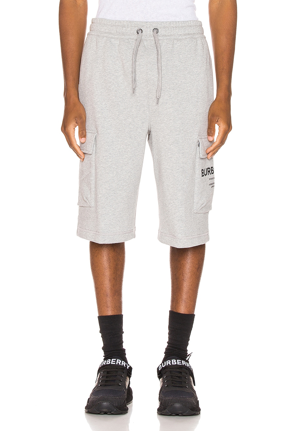Image 2 of Burberry Ailford Track Shorts in Pale Grey Melange