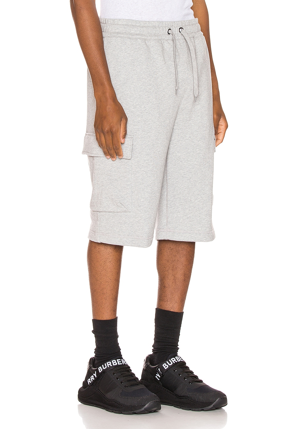 Image 3 of Burberry Ailford Track Shorts in Pale Grey Melange
