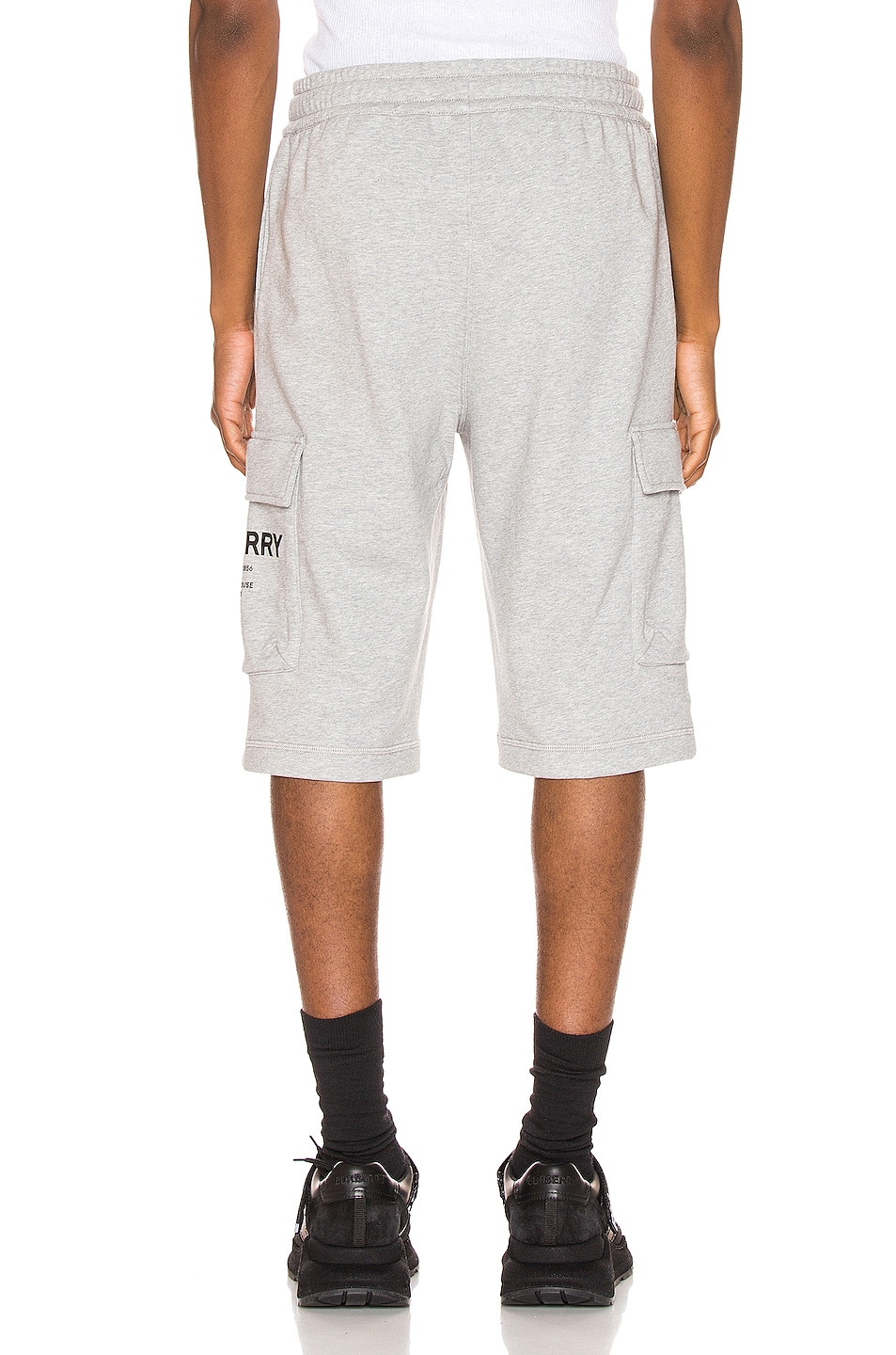 Image 4 of Burberry Ailford Track Shorts in Pale Grey Melange