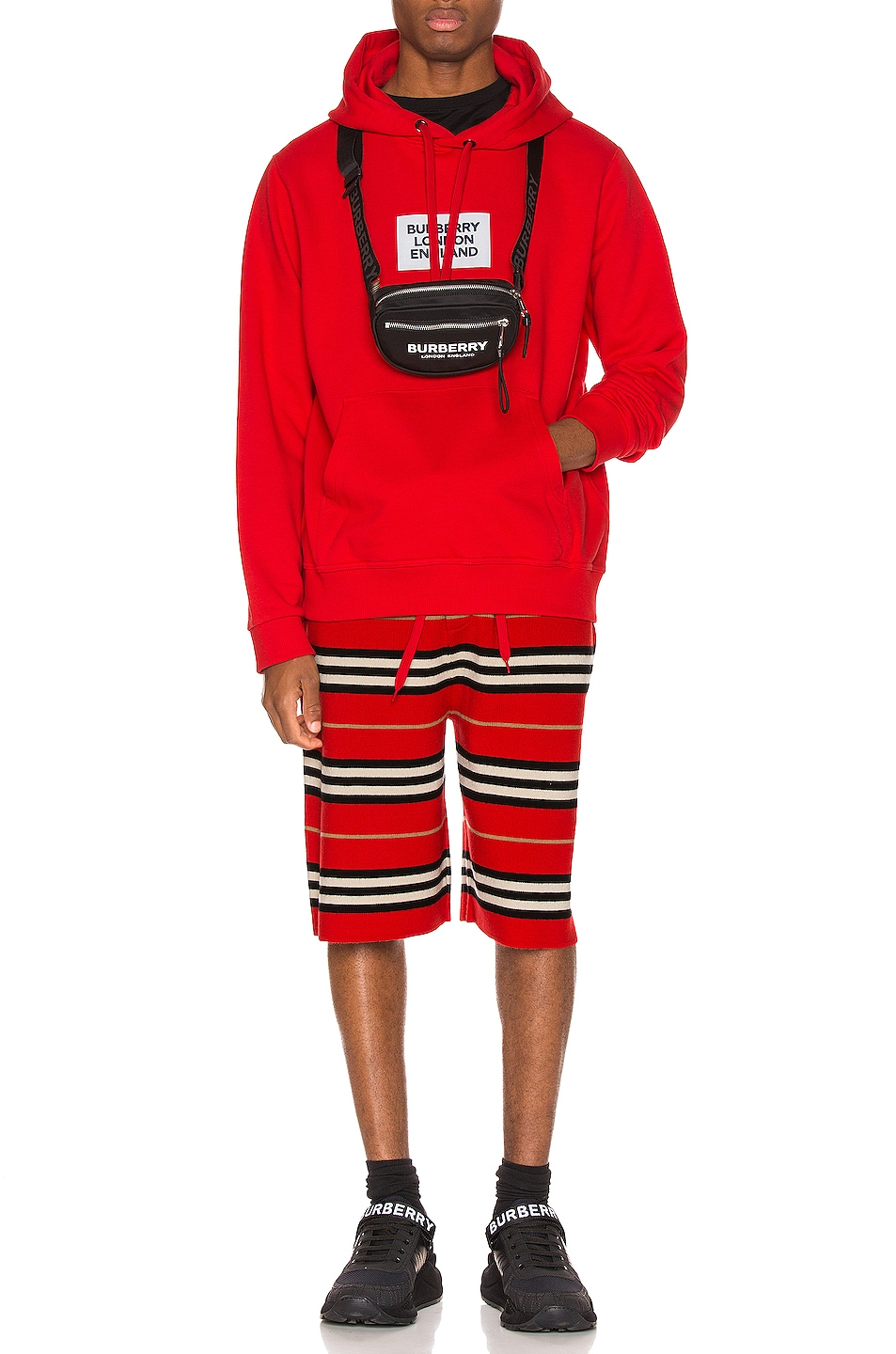 Image 5 of Burberry Farrows Hoodie in Bright Red