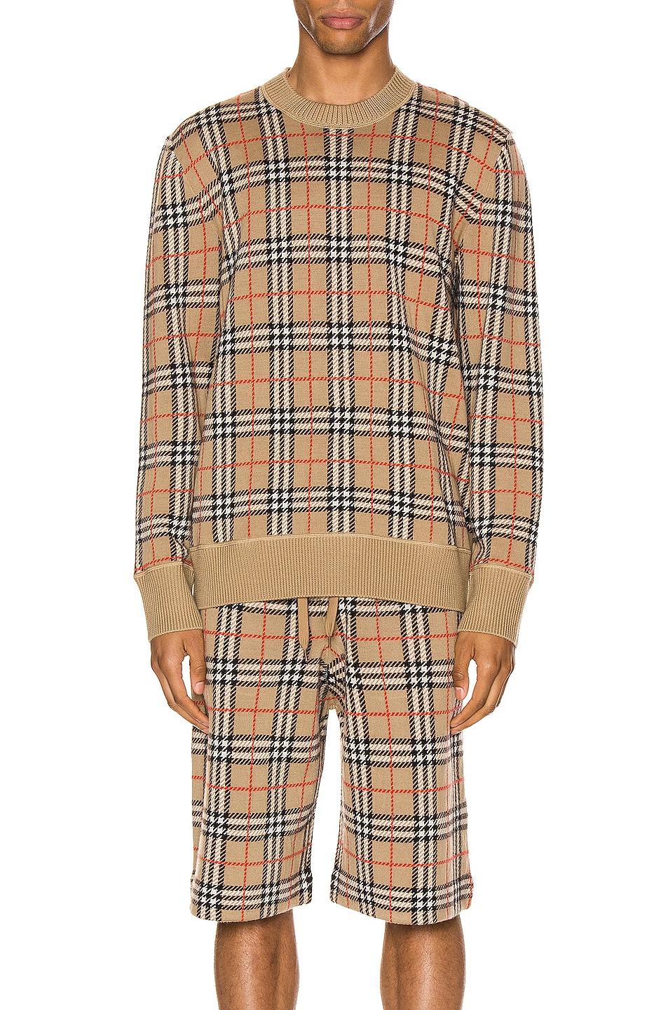 Image 1 of Burberry Knit Crew in Archive Beige