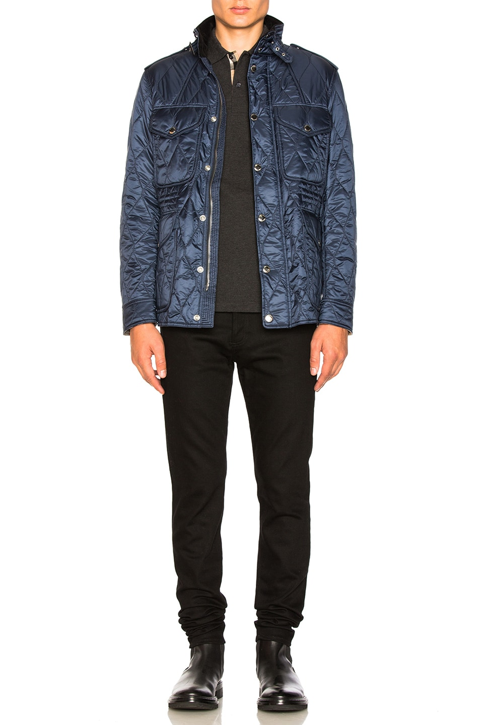 Burberry Quilted Field Jacket In Navy Fwrd