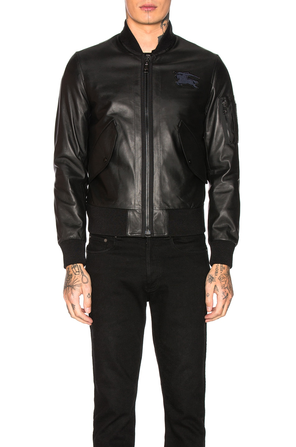 Image 2 of Burberry Sandford Leather Bomber Jacket in Black