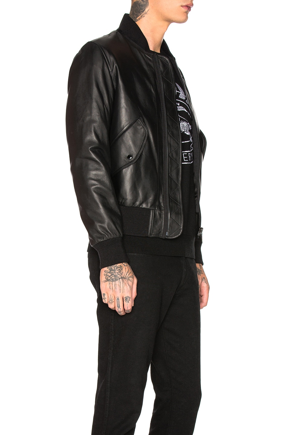 Image 3 of Burberry Sandford Leather Bomber Jacket in Black