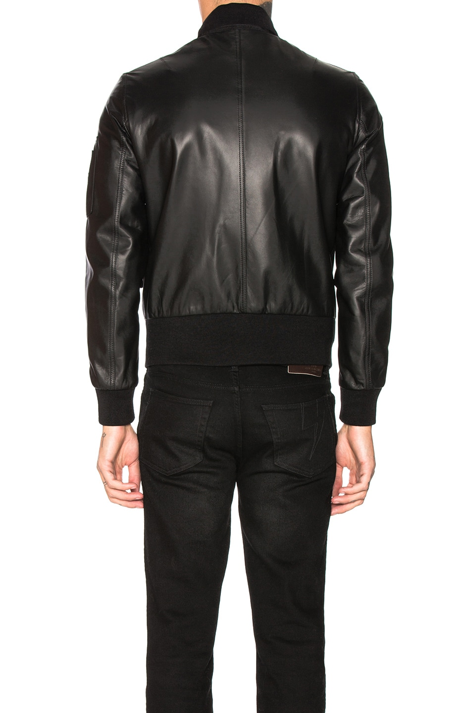 Image 5 of Burberry Sandford Leather Bomber Jacket in Black