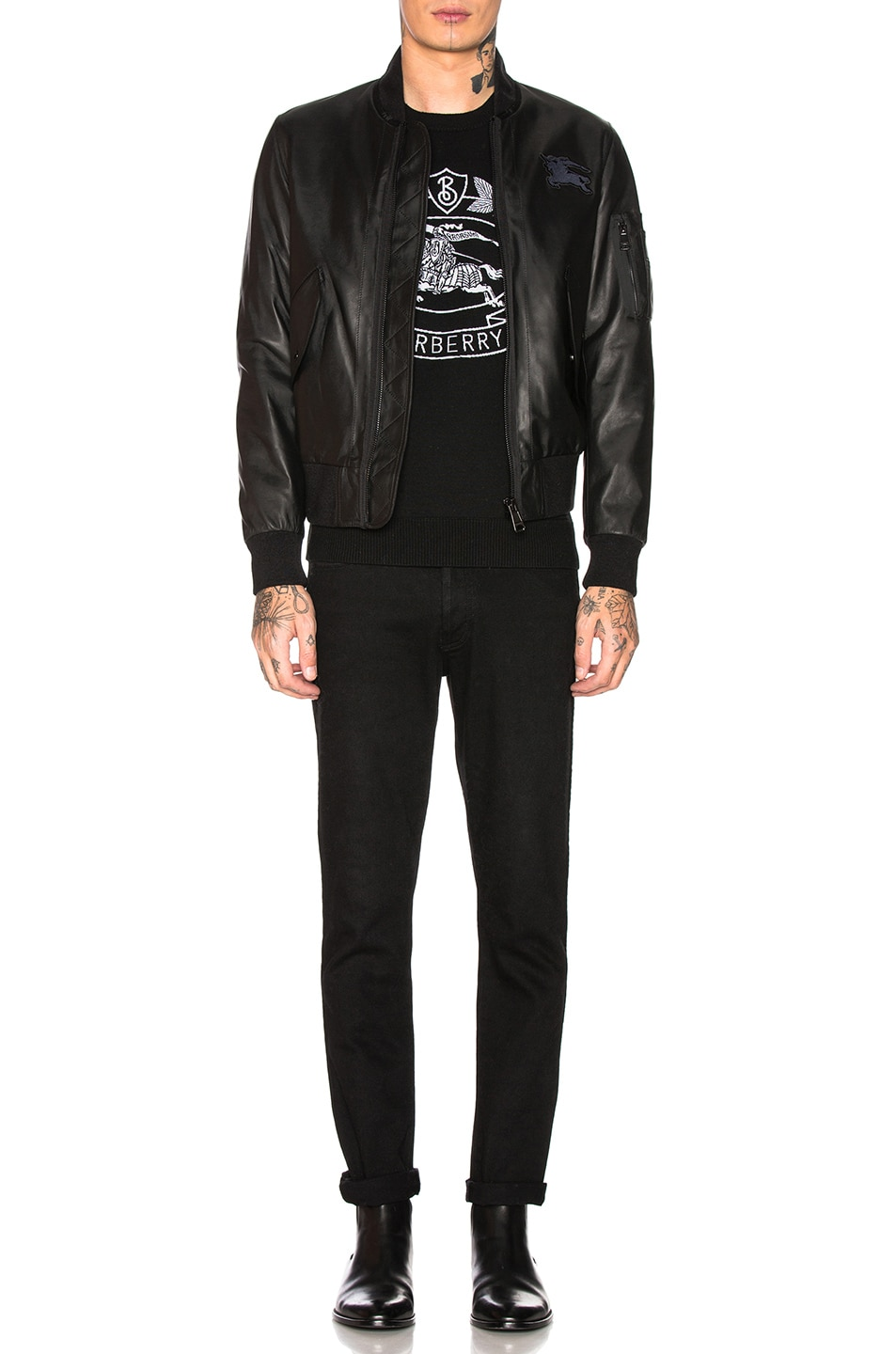 Image 6 of Burberry Sandford Leather Bomber Jacket in Black